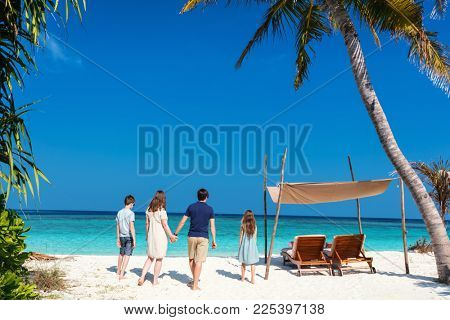 Back view of a beautiful family on a beach during summer vacation