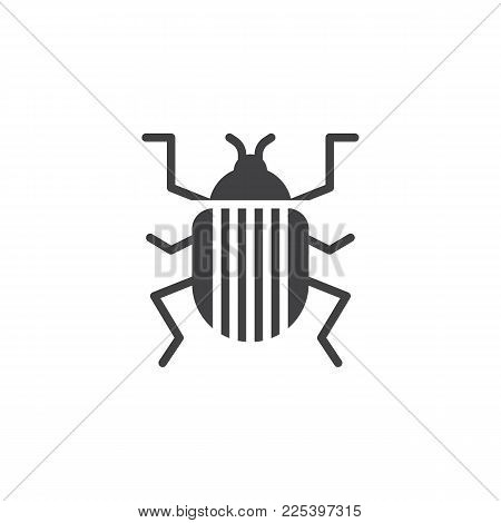 Colorado Beetle Icon Vector, Filled Flat Sign, Solid Pictogram Isolated On White. Pest Symbol, Logo