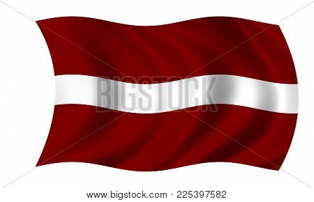 Waving Latvian Flag In The Colors Red And White