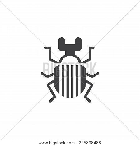 Beetle Bug Insect Icon Vector, Filled Flat Sign, Solid Pictogram Isolated On White. Scarab Bug Symbo