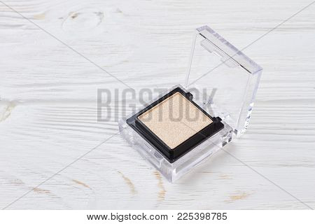 Beige Color Eyeshadow Powder In Open Container. Minerals Eyeshadow Powder For Eye Makeup On White Wo