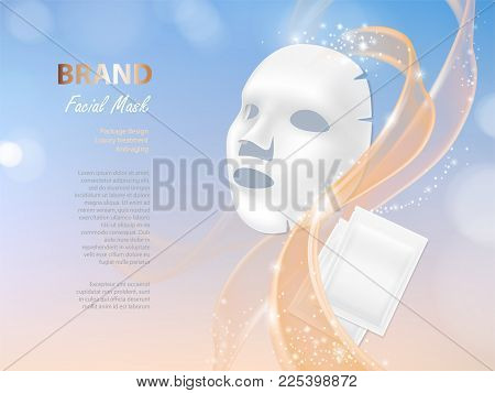 Vector Cosmetic Banner With 3d Realistic Vector Facial Mask And White Package For It Isolated On Col