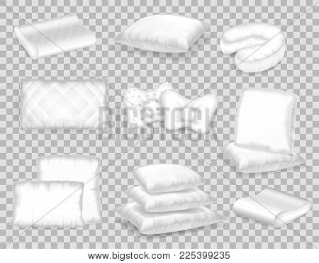 Set Of Realistic Patterns Templates Of White Pillows Different Shapes. Empty White Pillow Layout, Mo