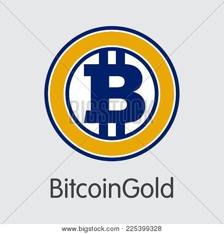 Bitcoingold: Criptocurrency Blockchain Icon On Grey Background. Virtual Currency. Vector Trading Sig