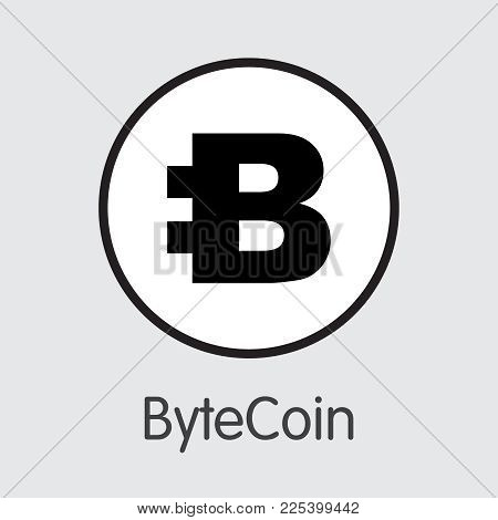 Bytecoin - Vector Icon Of Virtual Currency. Criptocurrency Blockchain Icon On Grey Background. Virtu