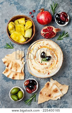 Homemade Hummus With Paprika, Olive Oil. Middle Eastern Traditional And Authentic Arab Cuisine. Meze
