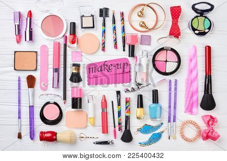 Set Of Cosmetics And Accessories. Women Fashion Cosmetics And Makeup Tools, Top View. Pink Paper Mes
