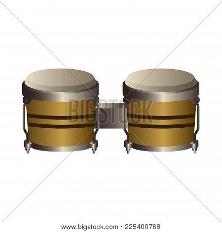 Isolated Bongo Drum. Musical Instrument. Vector Illustration Design