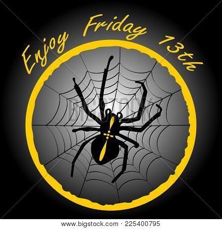 Friday 13th, Elegant Badge With Spider Crusader, Cobweb In Yellow Circle On Black Gradient Backgroun