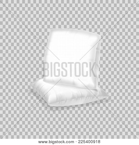 Realistic Pattern Template Of White Pillow. Empty White Air Pillow Square Shape, Layout, Mockup, Hom