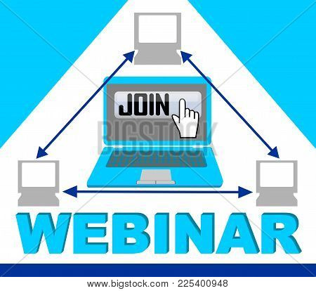 Blue Webinar Banner With Group Of Computers In Triangle Composition, Button Join, Hand Pointer, Arro