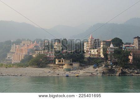 Rishikesh, India - November, 2nd, 2017. Beautiful View Of Ganga River In Rishikesh
