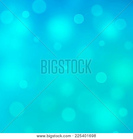 Teal Turquoise Blue Glitter Sparkle Bokeh Abstract Background. Colorful Blurred Background With Boke