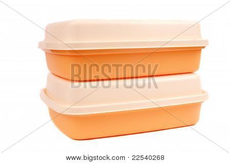 Stack Of Orange  Storage Plastic Containers