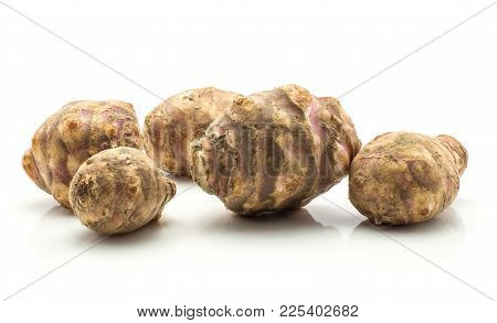Five Jerusalem Artichoke Tubers Isolated On White Background Sweet Crisp Topinambur