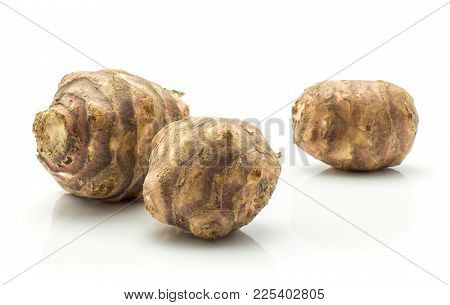 Jerusalem Artichoke Three Tubers Isolated On White Background Sweet Crisp Topinambur