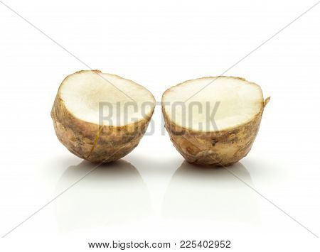 Jerusalem Artichoke Tuber Two Section Halves Isolated On White Background Sweet Crisp Topinambur
