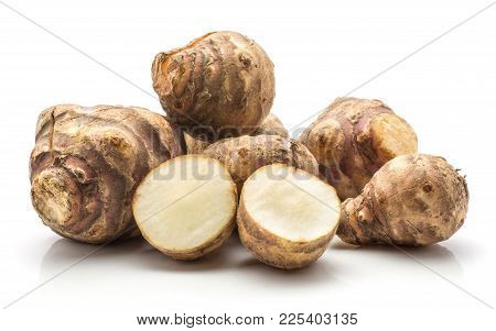 Jerusalem Artichoke Tubers One Sliced Isolated On White Background Sweet Crisp Topinambur Set