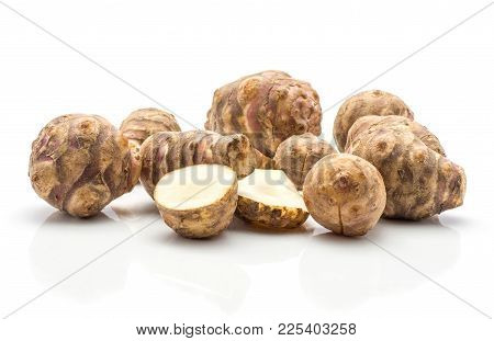 Jerusalem Artichoke Tubers Set With Two Sliced Halves Isolated On White Background Sweet Crisp Topin