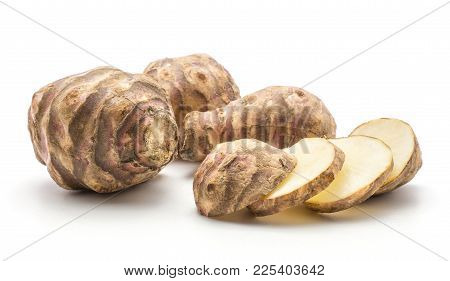Three Jerusalem Artichoke Tubers With Four Round Slices Isolated On White Background Sweet Crisp Top