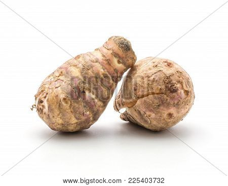 Two Jerusalem Artichoke Tubers One Cracked Isolated On White Background Sweet Crisp Topinambur