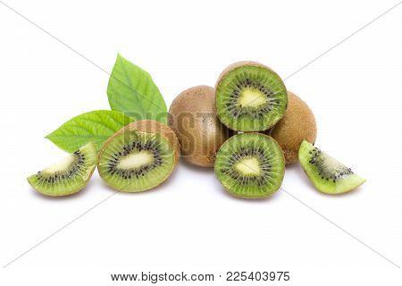 Kiwi On White Background. Composition Of Kiwi On White Background. Tropical Fruits On A White Backgr
