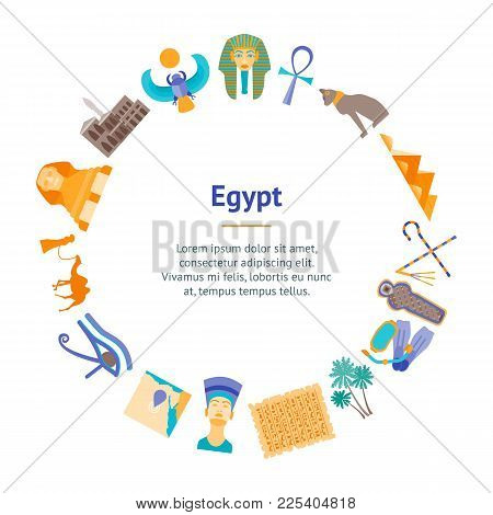 Cartoon Symbol Of Egypt Banner Card Circle Welcome Travel Concept Oriental Culture. Vector Illustrat