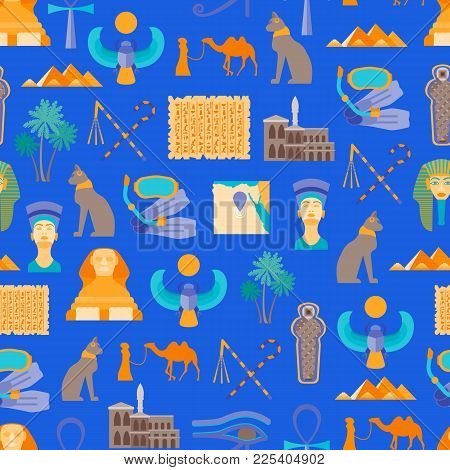 Cartoon Symbol Of Egypt Seamless Pattern Background On Blue Welcome Travel Concept Oriental Culture.