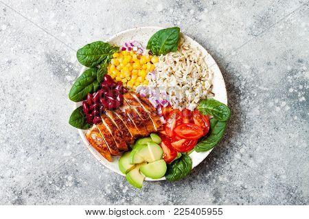 Homemade Mexican Chicken Burrito Bowl With Rice, Beans, Corn, Tomato, Avocado, Spinach. Taco Salad L