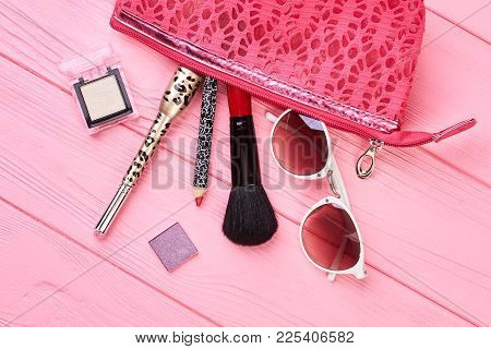 Make Up Bag With Cosmetics And Accessories. Makeup Cosmetics Kit, Toiletry Pouch And Beauty Fashion
