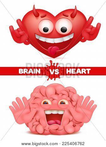 Heart Vs Brain Difficult Choice Concept Illustration Vector Cartoon Illustration
