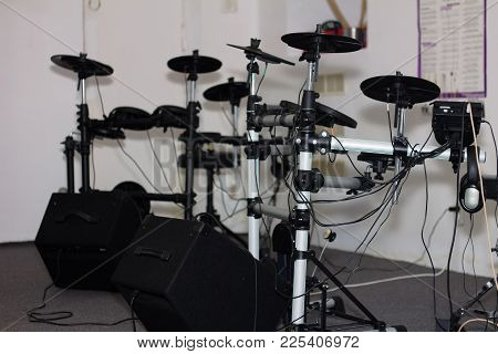 Electronic Drum Kit Sets In A Small Classroom