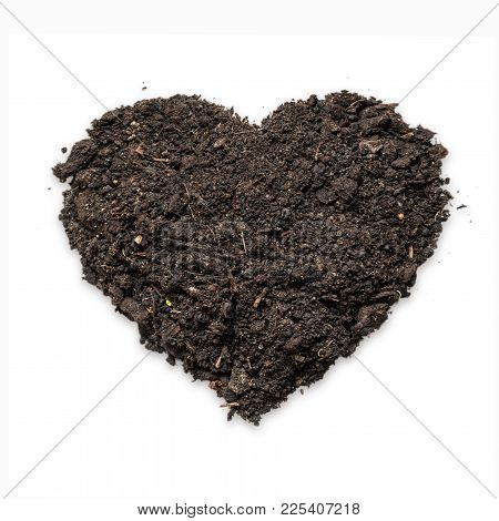 Natural Black Topsoil With Fertile Humus For Planting In Heart Shape, Isolated Soil On White Backgro