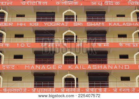 Rishikesh, India - November, 2nd, 2017. View Of Hinduist Temple Shri Makar Vahani Ganga Jee And Sita