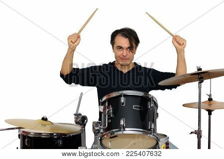 Drummer Playing The Drums Isolated On A White Background