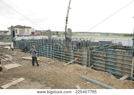 Foundation Site Of New Building, Details And Reinforcements With Steel Bars And Wire Rod, Preparing