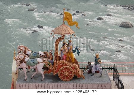 Rishikesh, India - November, 2nd, 2017. View Of Statues In Hinduist Temple Shri Makar Vahani Ganga J