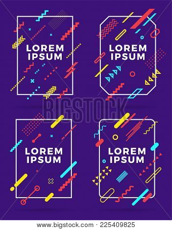Covers Modern Abstract Design Templates Set. Minimal Geometric Shapes Compositions For Flyer, Banner