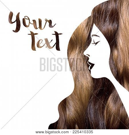 Woman silhouette with photo of a hair