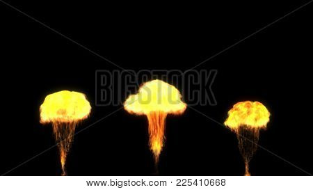 Flames Shooting Up From The Bottom, Like Stage Pyrotechnics. Computer Generated Fire Effect.