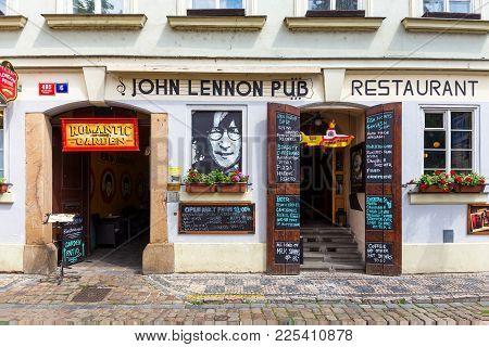 Prague, Czech Republic - June 05, 2017: The John Lennon Pub In Prague. It Is Located In The Centre O