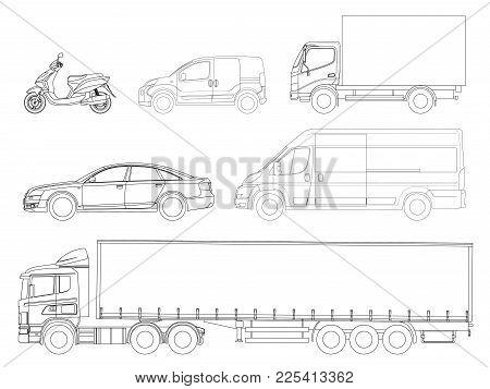 Set Cars Outline. Logistics Transport. Side View Truck Trailer, Semi Truck, Cargo Delivery, Van, Min