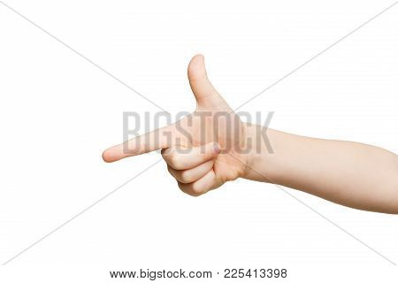 Kid Hand Pointing On Virtual Object With Index Finger, Making Gun Gesture, Isolated On White Backgro
