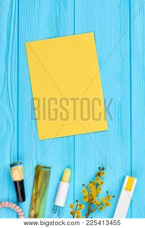 Cosmetics And Accesories Spring Composition. Yellow Color Make Up Products, Accessories And Pussy Wi