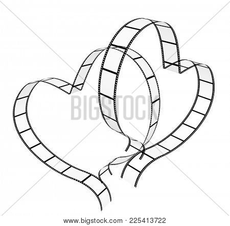 Two filmstrips in hearts shape. Isolated on white background. 3d render