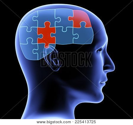Memory loss. Human profile and brain in the form of the puzzle with two pieces of red color. On black background. 3d render