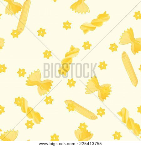 Seamless Pattern With Yellow Farfalle Rigatte And Other Macaroni On Light Background. Italian Macaro