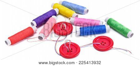 Sewing Thread And Buttons Isolated On White Background. Flat Lay, Top View. Wide Photo.