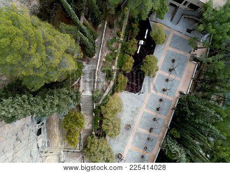 Yard Of Santuario De La Virgen De La Esperanza. Aerial Photohgraphy. The Sanctuary Is Situated In A