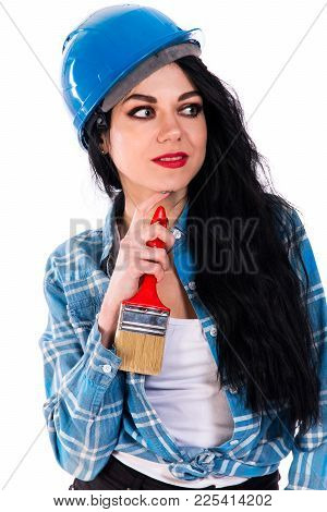 Pretty Young Woman With A Brush Isolated Over White Background